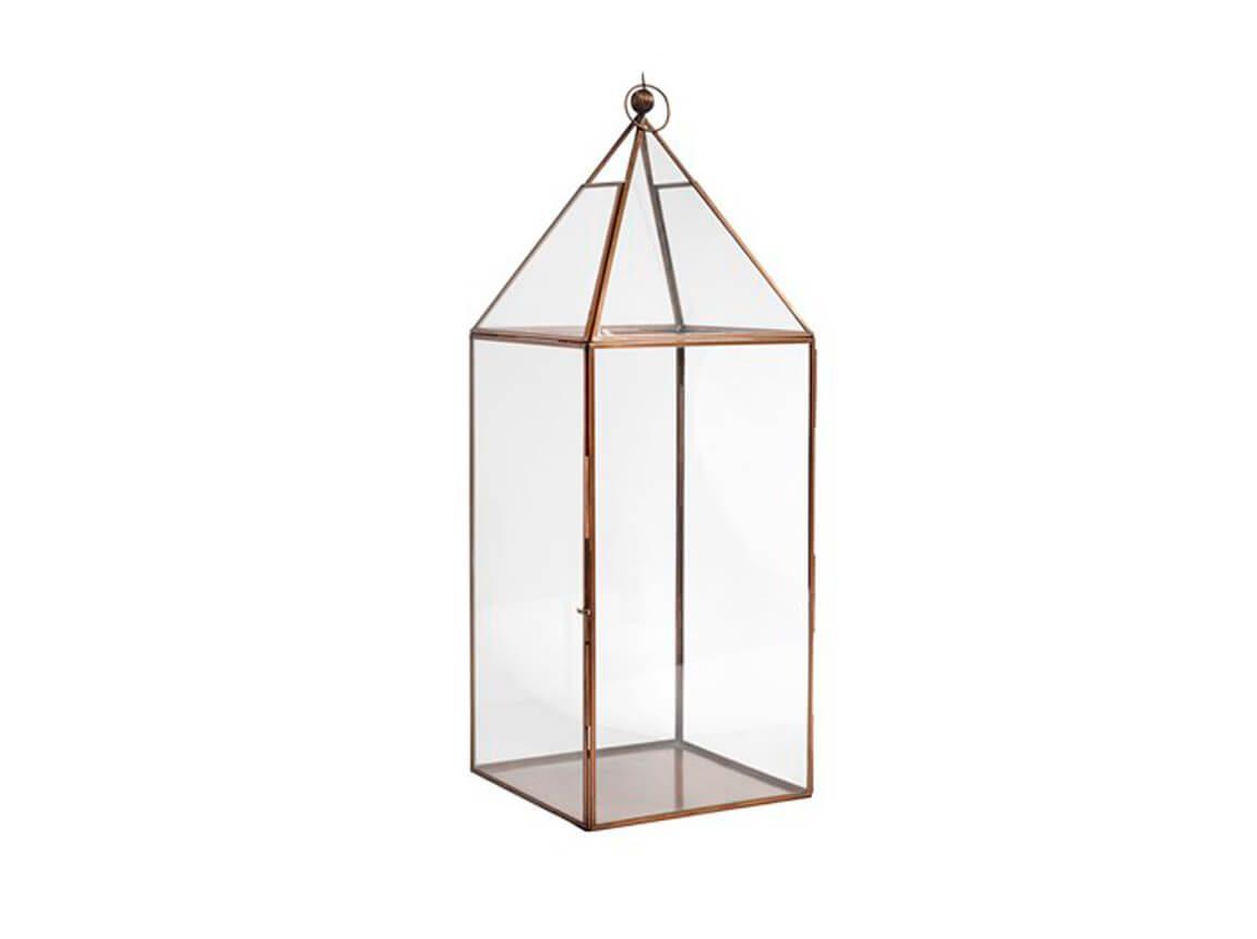 Udlejning / leje af stor lanterne i kobber og glas. Lejepris pr. dag kr. 150,-