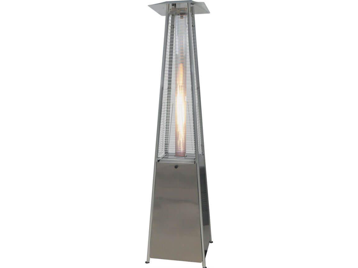 Udlejning / leje af terrassevarmer / gasvarmer. Flamme i glasrør. Lejepris pr. dag kr. 650,-