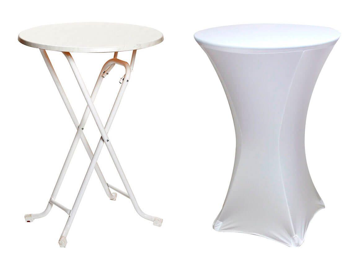 Udlejning / leje af cafébord med farvet overtræksdug / strækdug. Lejepris pr. dag. fra kr. 85,-.