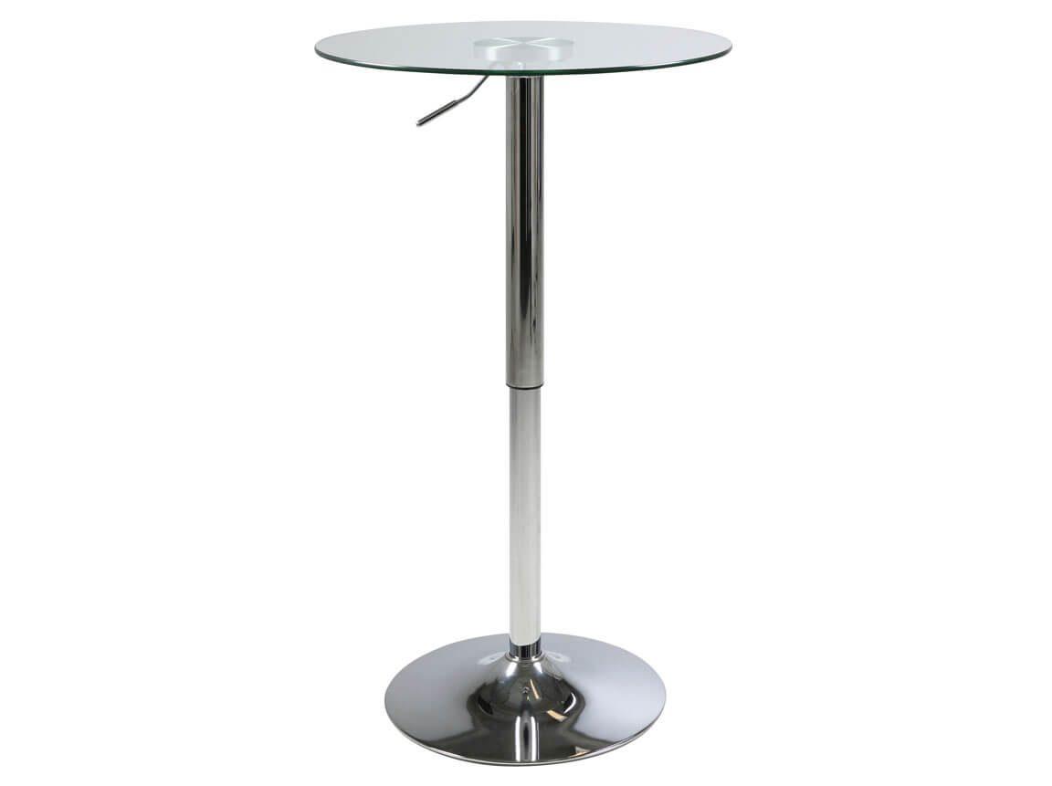 Udlejning / leje af cafébord med glas bordplade. Justerbar højde. Lejepris pr. dag kr. 295.