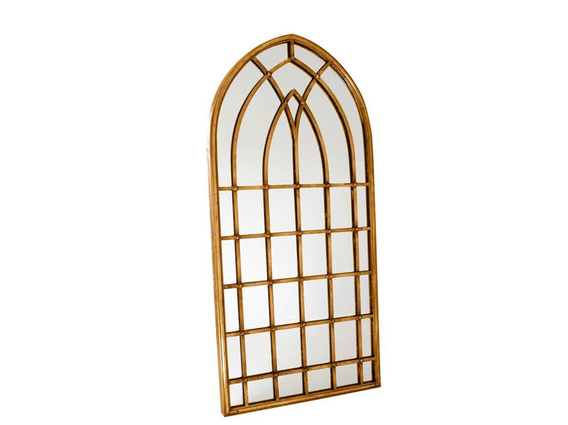 Udlejning / leje af guldspejl i vinduesramme. Lejepris pr. dag kr. 195,-