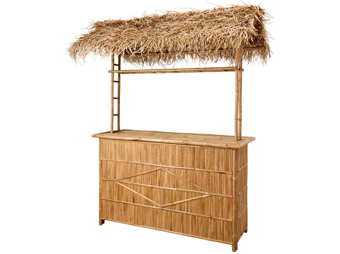Udlejning / leje af luksus bambusbar med sivtag. Lejepris kun kr. 750,- pr. dag.