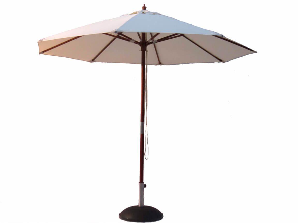 Udlejning / leje af parasol - diameter 3 meter - med hejs. Stor kraftig parasol med stel i mørkt træ. Inklusive fod i granit. Lejepris pr. dag kr. 650,-