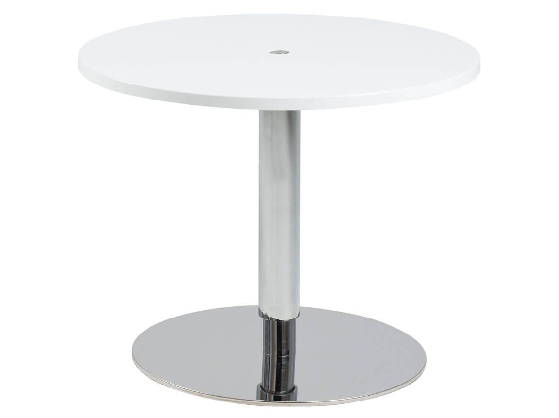 Udlejning / leje af sofabord med plade i hvid højglans. Kan hæves/sænkes. 2 størrelser. Lejepris pr. dag fra kr. 550,-