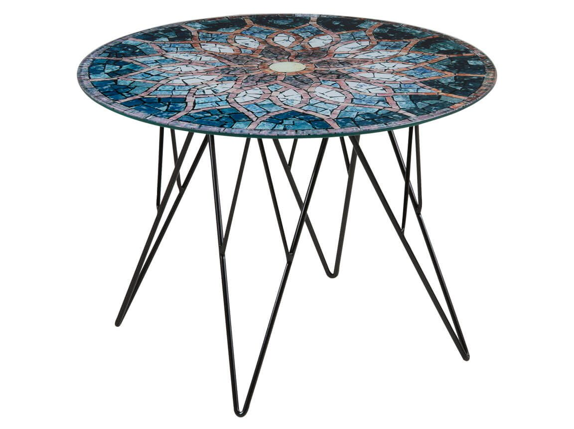 Udlejning / leje af mosaik sofabord. Meget flot sofabord med glasplade og mosaik-print. Lejepris pr. dag fra kr. 275,-