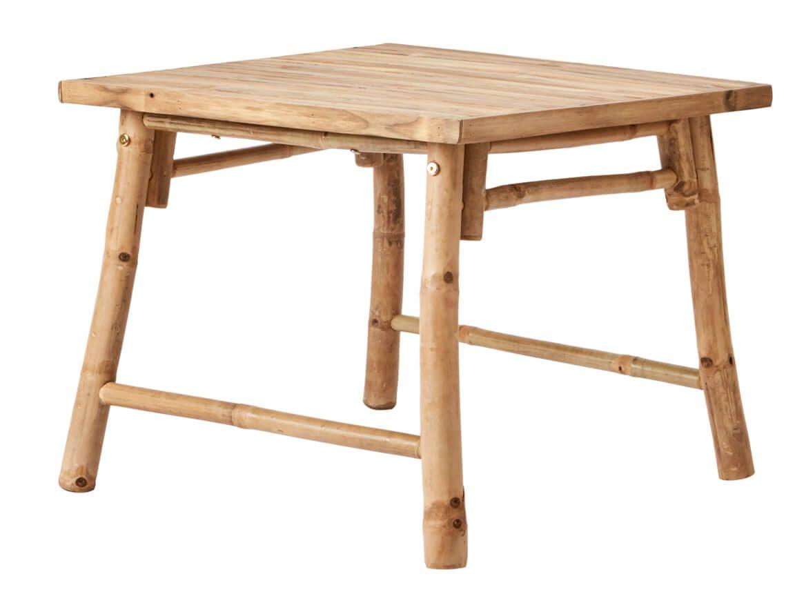 Udlejning / leje af lille bord i bambus. Rigtig flot hjørnebord / sofabord i bambus udlejes. Matcher vores sofaer og stole. Lejepris pr. dag kr. 375,-