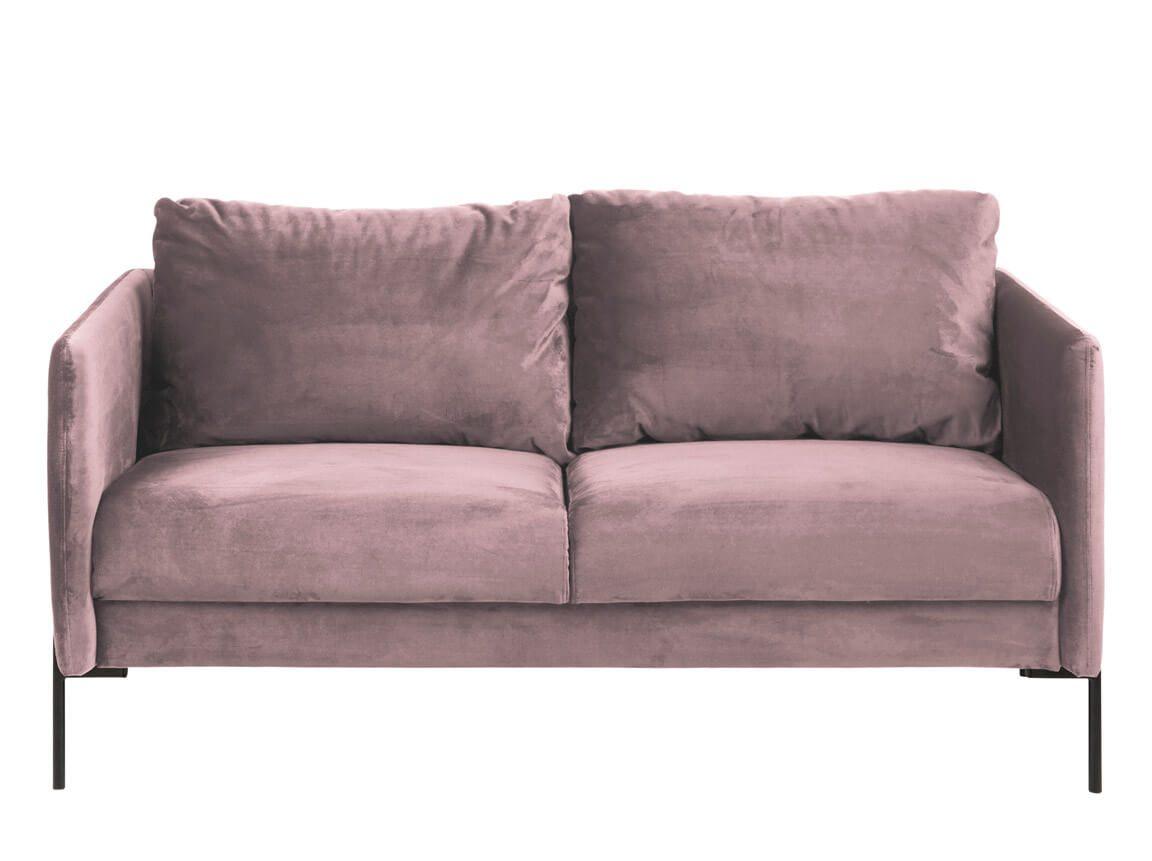 Udlejning / leje af sofa i rosa velour. Enkel og moderne sofa til messe eller fest. Lejepris pr. dag kr. 1.295,-