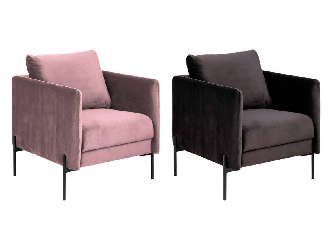 Udlejning / leje af velour sofastole. Elegante stole i rosa og mørkegrå velour. Se også sofaer og andre stole i samme serie. Lejepris pr. dag kr. 975,-