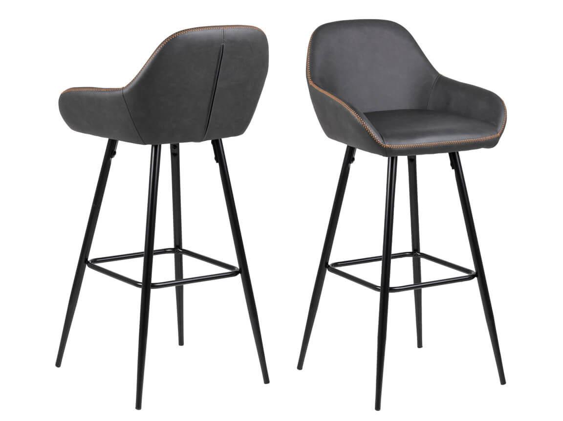 Udlejning / leje af høj barstol i et flot og funktionelt design. Gråsort PU med orange syninger. Lejepris pr. dag kr. 175,-