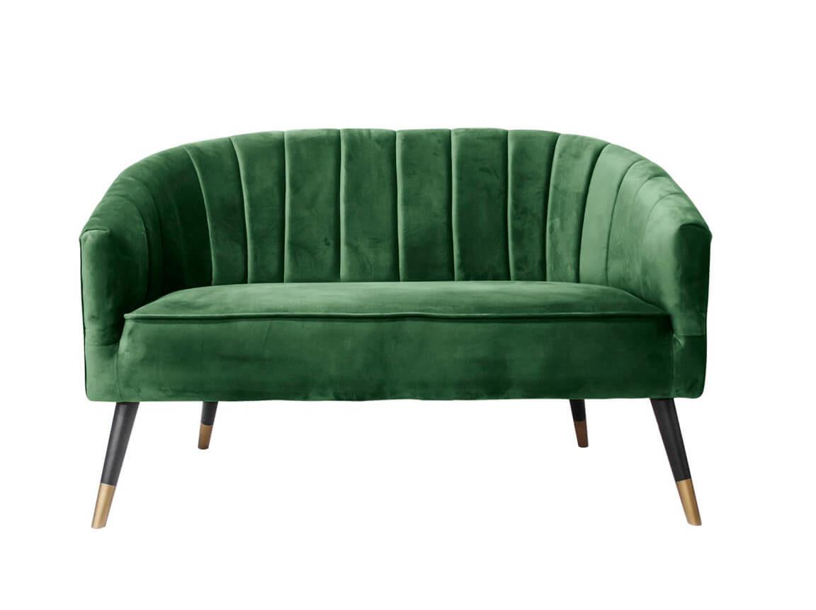 Udlejning / leje af sofa i grøn velour. Elegant 2-personers loungesofa udlejes. Lejepris pr. dag kr. 1.495,-