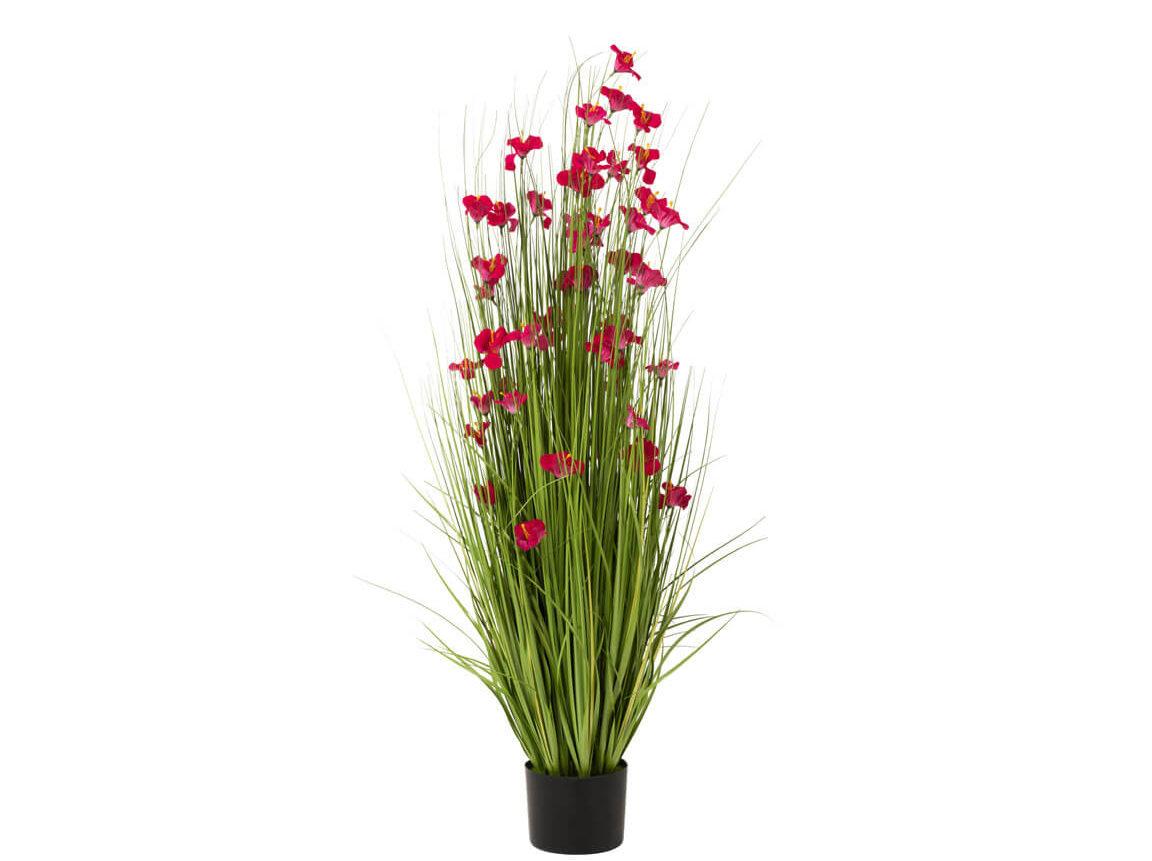 Udlejning / leje af kunstige græsser med blomster. Flot naturtro kunstig græs med rødlige blomster. Lejepris pr. dag kr. 85,-
