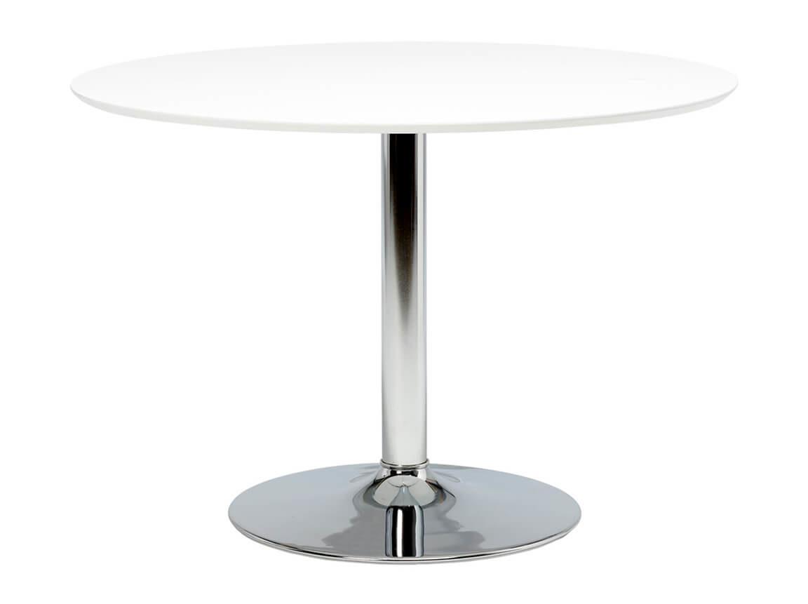 Udlejning / leje af hvidt spisebord med blank trumpetfod. Lejepris pr. dag kr. 450,-