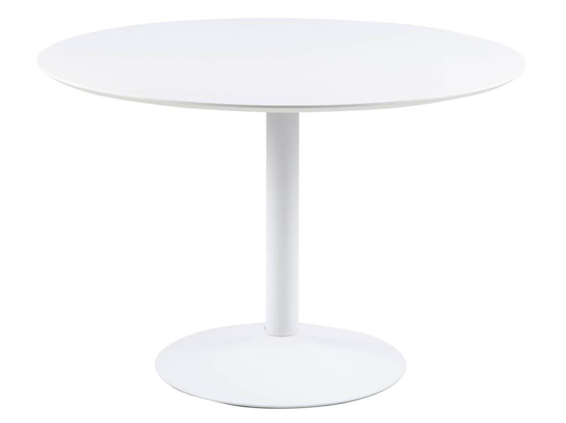 Udlejning / leje af hvidt spisebord med hvid trumpetfod. Lejepris pr. dag kr. 450,-