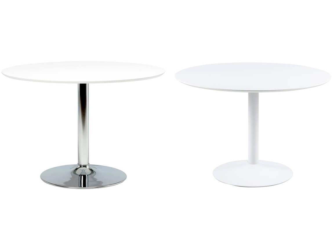 Udlejning / leje af hvidt spisebord med hvid eller blank trumpetfod. Lejepris pr. dag kr. 450,-
