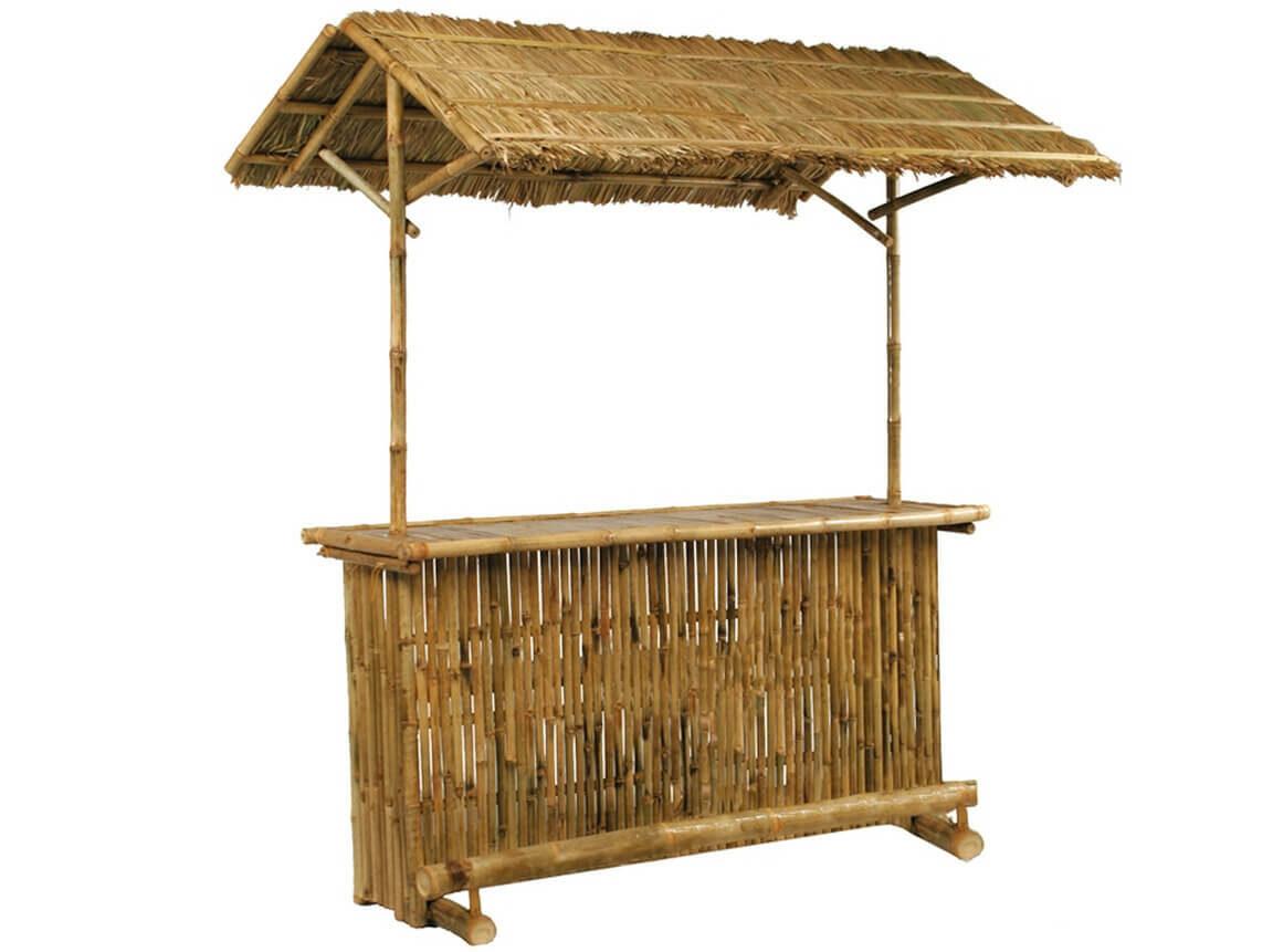Udlejning / leje af bambusbar med tag. Lejepris kr. 1.250,- pr. dag.